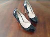 Black patent leather, M&S, ladies high court shoes