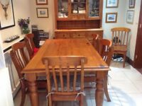 gorgeous dining table, chairs and dresser from Sterling excellent condition rustic look/solid pieces