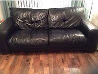 2 Black 3 Seat Leather Sofas & Large Footstool