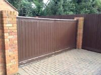 Large Wooden Driveway Gates. Complete with furniture (locks,hinges etc). Each panel: 5.5ft x 5.5ft