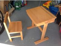 Children's desk and chair, solid wood, excellent condition, storage under lid,
