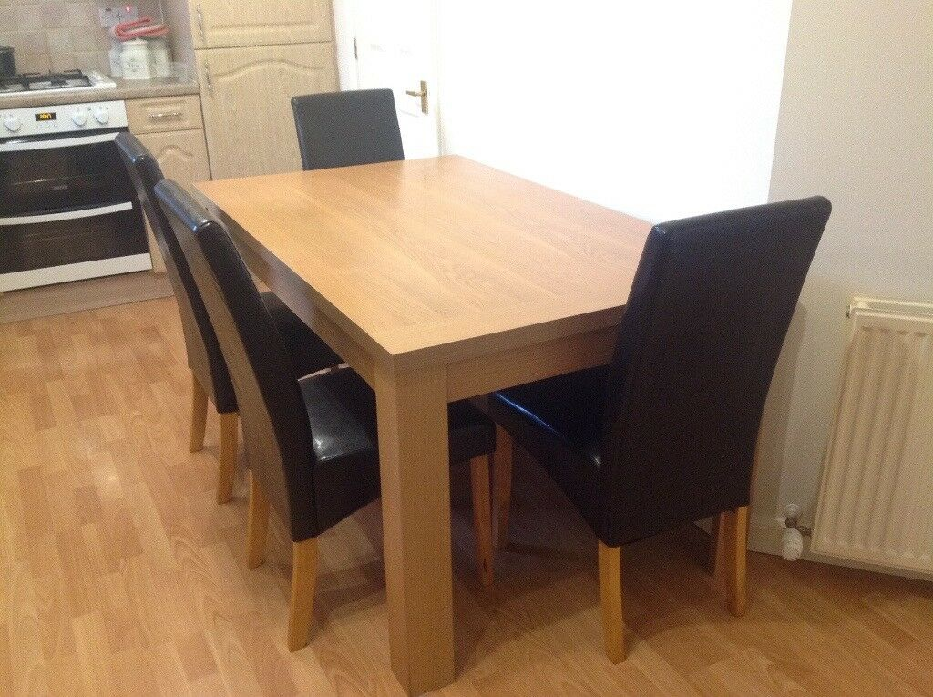 Homebase Kitchen Dining Table 4 Brown Leather Seats In Livingston West Lothian Gumtree