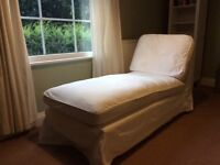 Ikea Ektorp Chaise Lounge with white removable and washable covers