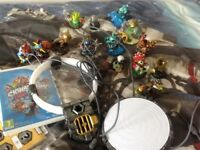 Mix of 16 Skylander characters, incl 3 crystals + portals & disc