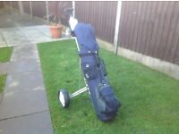 Hippo golf bag with clubs and trolley