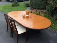 G plan extended dining table + 4 chairs