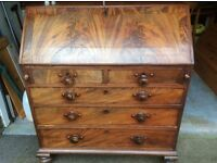 Old Victorian bureau with desk lid and drawers