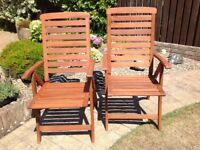 Two Hardwood Reclining Garden Chairs
