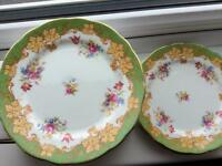 Paragon vintage plates, By appointment Queen Mary and Elizabeth x 4