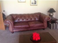 Traditional style dark brown Chesterfield 2 & 3 seater sofas NOW £450