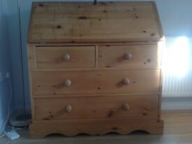 Pine bureau. Solid pine. Well-used. Marked but in good condition. Ideal for painting