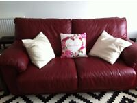 Red Leather double sofa bed ( AS NEW ) 110 ONO...MUST UPLIFT BEFORE 5TH AUGUST