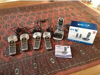 Bt big button cordless telephone and answer machine 5 handsets