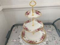 Queen Anne Large Bone China 3 Tier Cake Stand.
