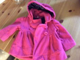 Ted Baker baby girls pink coat, 6-9 months
