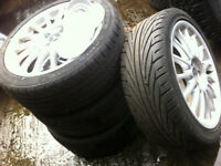 4x100 17in alloy wheels with tyres