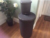 Laundry/washing basket and matching bin by Curver brown with lid