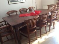 Elegant dining table and chairs:: metarial wood