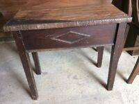 Old Wooden Table Small H 23.5in L 26.5in W 13in