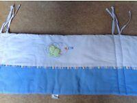Mamas and Papas cot bundle- bumper, sleep bag & cot toy
