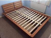 King size wooden bed frame with under bed storage draws