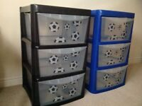Two plastic storage drawer sets with football decals.