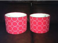 2 red lampshades