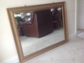 Extra Large Mirror with Decorative Bronze Effect Border approx 4ft x 3ft