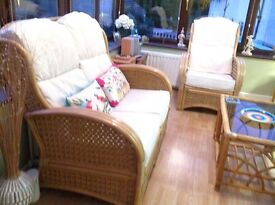 Conservatory furniture in cream apolstery all fabric treated with scotchguard