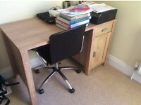 Desk with leather look swivel chair