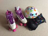 Girls Roller Skates / Roller boots, Kiddimoto helmet and protective pads