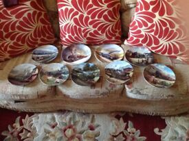 9 Lovely Steam Engines on Plates by Davenport ,,With Certificates and Stands for Display