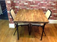 INDUSTRIAL STEEL BASE AND RECLAIMED WOOD DECKING TABLE TOP & 2 CHAIRS - CAN DELIVER LOCALLY