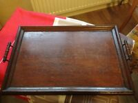 VINTAGE WOODEN TRAY WITH HANDLES
