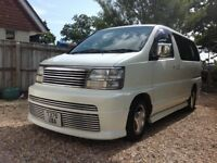 Nissan ElGrand Rider E50 Classic Shape White 50k miles Cream Leather 8 Seater New MOT Air Con