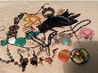 Big bundle of vintage and modern glass and stone jewellery and accessories