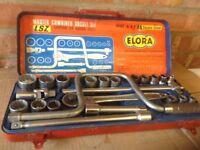 """Vintage Elora LSZ AF & WHIT 24 Piece 1/2"""" Drive Socket Set"""