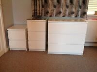 3 x sets of drawers (Ikea Malm in white)