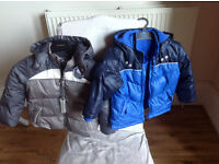 Two Mothercare Down padded coats, size 1.5-2 years (blue) and 3-4years (grey)