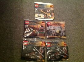 5 x collectable lord of the rings/ hobbit polybag sets