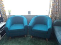 Tub chairs (teal colour) x 2