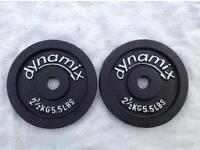 2 x 2.5kg Dynamix Standard Cast Iron Weights