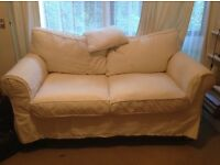 2 Seater white linen sofa excellent condition