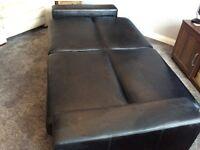 Faux black leather sofa bed/futon