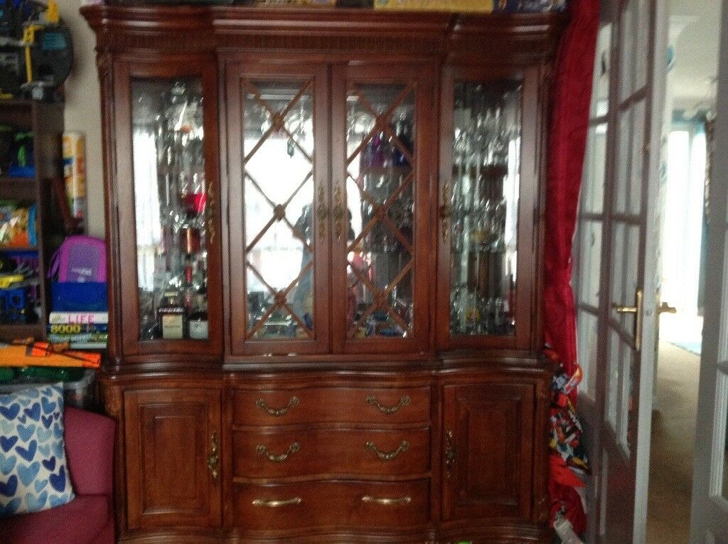 Large Glazed Solid Wood Buffet / Display Cabinet with interior lighting