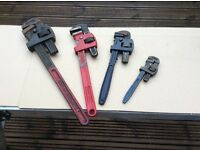 Stillson pipe wrenches set of four