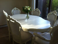 Shabby Chic Table and six Chairs in light cream Farrow & Ball estate eggshell