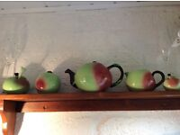 Carlton teapot, sugar, milk, jam and spoon pot