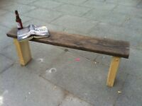 aprox 4ft very heavy- reclaimed wood garden bench rustic reclaimed protected weather proof paint