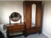 Oak wardrobe and dresser set.